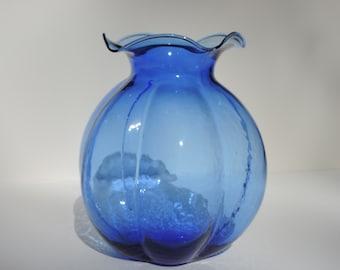 HAZEL ATLAS Blue Cobalt Depression Glass Vase 30's Rare marked Hazel Atlas logo