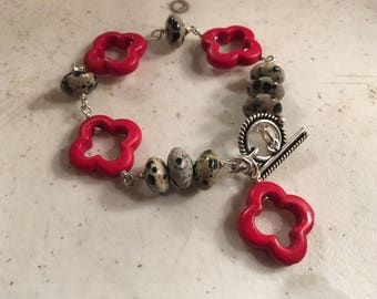 Red Bracelet - Dalmatian Jasper Gemstone Jewelry - Sterling Silver Jewellery - Quatrefoil - Howlite