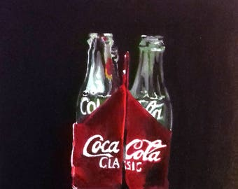 Realistic painting Coca Cola bottles / Nice kitchen decoration