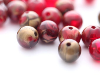 Vintage Round Lucite Beads Deep Wine Red and Gold Marbling 10mm (20)