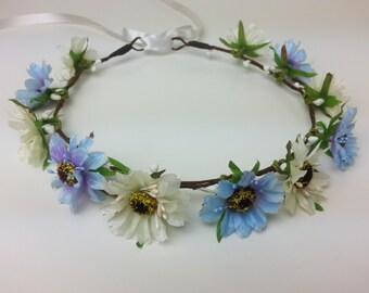 Light blue and ivory flower crown, flower hair garland, flower hair wreath, flower hair piece, flower girl, festival crown, flower headband