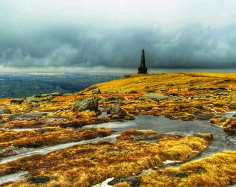 Stoodley Pike Winter Light A6 Greetings Card