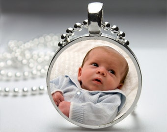 CUSTOM PHOTO CHARM Round Silver Pendant Necklace with Free Ball or Snake Chain Necklace or Key Ring