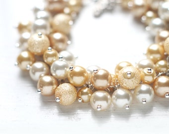 Yellow Wedding Bridesmaid Jewelry, Pearl Cluster Bracelet - Fields of Gold