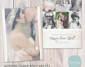 Wedding Thank You Card - Photoshop template - AW016 - INSTANT DOWNLOAD
