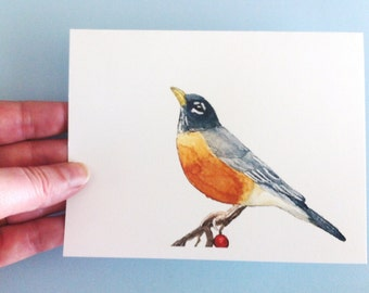 Aquarell Vogel-Karte - Robin