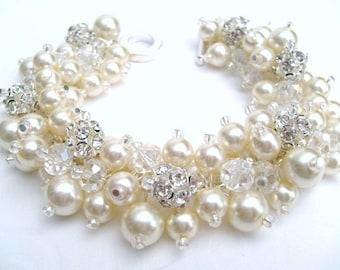 Ivory Bridal Jewelry, Wedding, Pearl Bridesmaid Bracelet, Pearl Rhinestone Bracelet, Cluster Bracelet, Pearl Bracelet, Ivory Pearl Jewelry