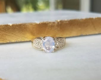 8x6mm Oval Lavender Moon Quartz Sterling Silver Ring Size 7