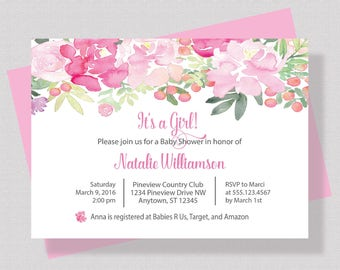 GIRL BABY SHOWER Invitation, Pink Floral Baby Shower Invitation For Girl, Shabby Chic Baby Shower Invitation, Printable or Printed Invite
