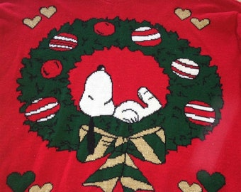 Vintage RARE Peanuts 70's Ugly Christmas Sweater Snoopy Wreath Snoopy & Friends