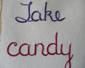 Take Candy from Strangers, Art Embroidery, Tapestry, Boyfriend Gift, Girlfriend gift, Birthday Gift, Hand Embroidery, Textile Art