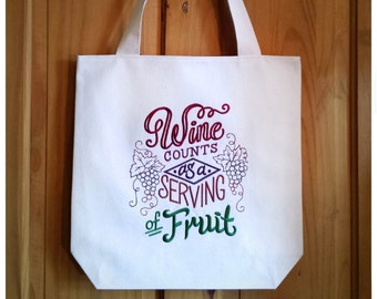 Wine Theme Tote Bag Embroidered Canvas - Red Green Purple Jewel Tone Wine Shopping Bag Wine Lover Connoisseur Sommelier Oenophile Gift, 3560