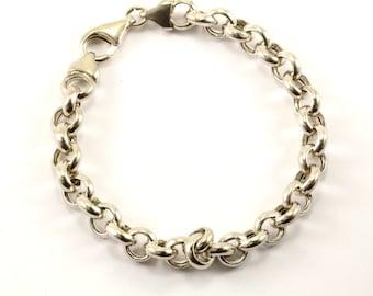 Vintage Round Design Link Chain Bracelet Sterling Silver BR 2277