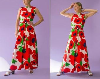 70s Malia Honolulu white oversized red floral maxi dress | size small