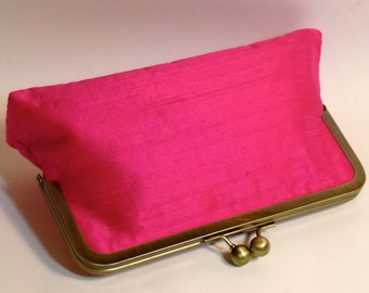 Bridal Clutch or Bridesmaids Clutch Magenta Dupioni Silk CUSTOMIZE