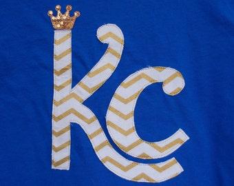 Kansas City KC Royals T-shirt~Gold Crown~Chevron~Applique~PLUS sizes available