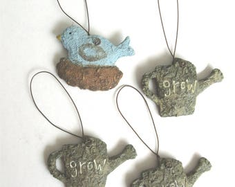 Set of Four (4) Miniature Garden Accessories/Ornaments - Three (3) Watering Cans and One (1) Blue Bird