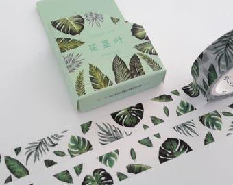 green leaves washi tape. 15 mm x 7 m, washi, tape, MT, green, leaves washi, scrapbooking, journal washi,