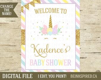 Unicorn Welcome Sign, Unicorn Baby Shower, Unicorn Baby Shower Sign, Printable, Personalized, Unicorn Party, Glitter, KADENCE, DIGITAL FILE