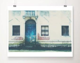 venice photograph blue door photograph venice print travel photography italian decor blue door print canal photograph