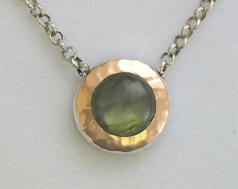 Labradorite necklace, sterling silver necklace, rose gold necklace, Two tones necklace, round gemstone pendant - Green Fields Forever N8815A