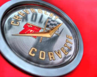Corvette Badge Photo, HDR Macro photograph, Silver and red, fine photography prints, Vette Badge