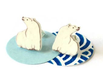 Polar bear earrings, arctic bear,