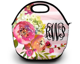 Monogram Lunch Bag   Floral Print   Lunch Bag   Gift For Her    Lunch Bag for Women