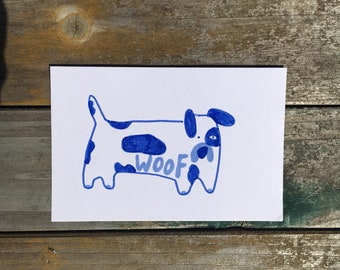 Tiny dog postcard illustration