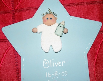 New Baby Star - Personalised Wooden Sign - Nursery Decoration - Door, Room, Cot or Wall - New Baby Gift - Any Name Boy Girl - Christening