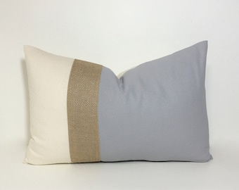 Lumbar pillow cover. Colorblock neutrals & burlap pillow cover.  Natural and grey with burlap accent. throw pillow, home decor accent