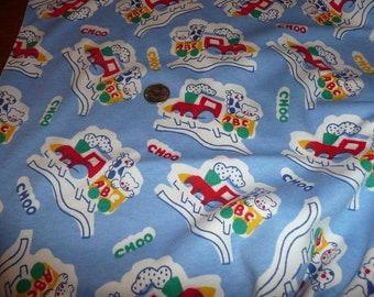 ABC CHOO CHOO Knit Train Fabric Print