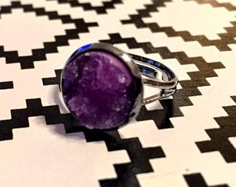 Purple Druzy Ring - Gunmetal Setting