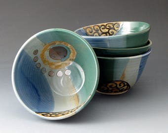 Small Ceramic Bowl - Blue and Green - Handmade Clay Bowl