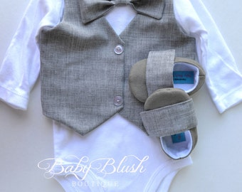 Grey Vest Bow tie Baby Boy Outfit Photo Prop Matching Shoes