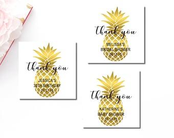 Gold Pineapple Favor Tags Printable, Personalized Favor Tags, Tropical Hawaiian Luau Thank You Tags, Bridal Shower, Birthday Wedding, B74