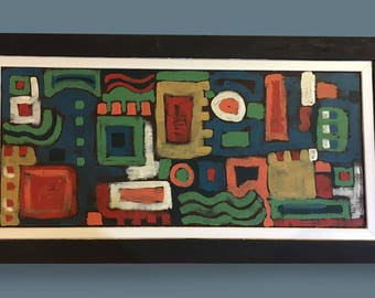 Large Abstract acrylic painting-Geo City
