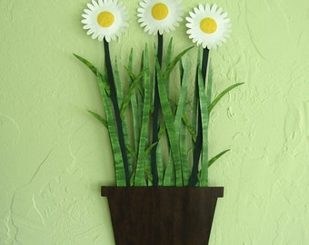 Metal Wall Art Painted Daisies Wall Sculpture Recycled Metal Flower Pot Kitchen Wall Decor Custom Flowers White Yellow 13 x 20