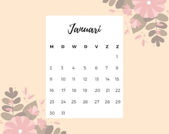 Maandelijkse kalender - 2017 printable