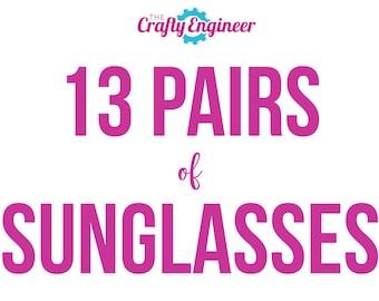 13 PAIRS -- Personalized Sunglasses, Custom Sunglasses, Bachelorette Sunglasses, Wedding Sunglasses, Bachelorette Gift, Wayfarer Sunglasses