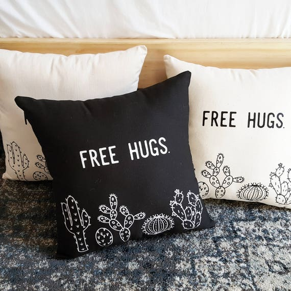Handmade Amanda Serra Designs FREE HUGS Cactus Pillow - Handmade Custom Throw Pillow - Cactus Pillow