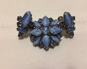 Vintage Unmarked Set of Brooch & Earrings,Periwinkle with Rhinestones