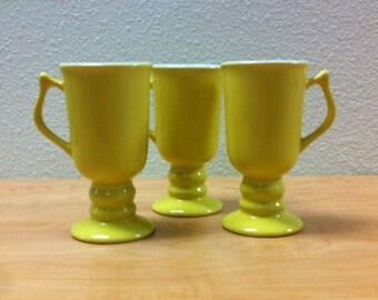 Carbone (Set of 3) Footed Ceramic Irish Coffee Mugs - Yellow