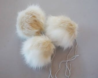 Faux Fur Pompom in Beige/White,Handmade Hat Accessory,Fur Pompoms. Faux Fur, Fur Pompoms Fur Pom Pom Pompoms Faux Detachable