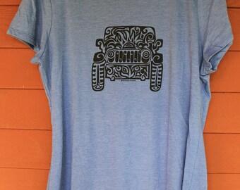 JEEP Tribal Tattoo LADIES Tri-Blend S/S T-Shirt (2XL-4XL)