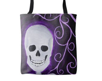 Tote bag - Fred - Acrylic Art Painting - skeleton skull -2 sided