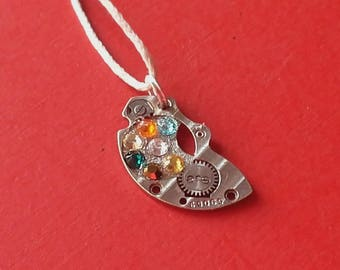 Watch and shiny coin Swarovski pendant