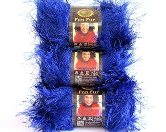 Fun Fur Eyelash Yarn Blue Sapphire Lion Brand 3 Skeins Craft Supplies