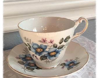 Vintage Regency Blue Flower Teacup and Saucer