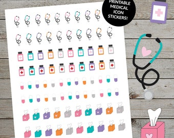 Printable Medical Stickers Set - Planner Stickers - Cute medical icons - Doctor Stethoscope - Medication - Doctor Appointment - Sick Day